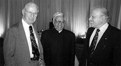 Norman E Borlaug with C Subramaniam, the then Minister of Agriculture, Government of India (centre) and M S Swaminathan, a legendary figure in Indian agriculture.